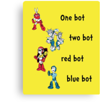 One bot, two bot, red bot, blue bot Canvas Print