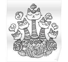 Mehndi Cats Poster