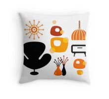 Black and orange 60s furniture collection Throw Pillow