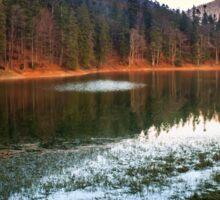 autumn evening on mountain lake Sticker