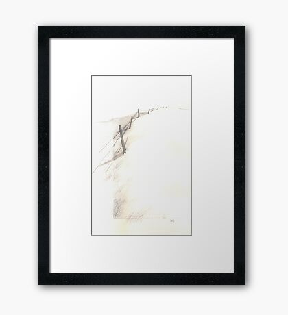 Dunes II drypoint and mixed media Framed Print