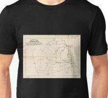 0060 Railroad Maps Map of the northwestern states Shewing sic what proportion lies north of the parallel of South Bend of Lake Michigan It will be seen at a glance that the Unisex T-Shirt
