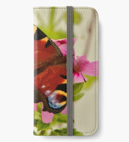 Peacock butterfly on pink geranium iPhone Wallet/Case/Skin