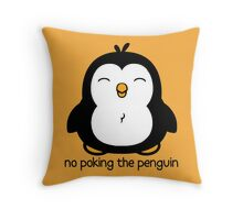 No Poking The Penguin Cartoon Throw Pillow