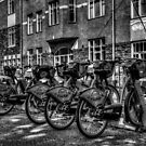 Yellow Bicycles In Monochrome by Andrew Pounder