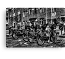 Yellow Bicycles In Monochrome Canvas Print