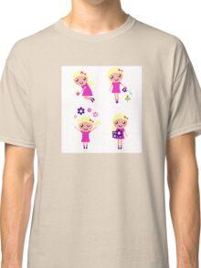 Little gardener Girl. Vector cartoon girls. Classic T-Shirt