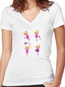 Little gardener Girl. Vector cartoon girls. Women's Fitted V-Neck T-Shirt