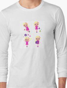 Little gardener Girl. Vector cartoon girls. Long Sleeve T-Shirt