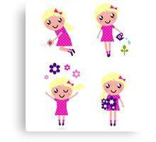 Little gardener Girl. Vector cartoon girls. Canvas Print