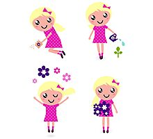 Little gardener Girl. Vector cartoon girls. Photographic Print