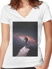 Space tourist Women's Fitted V-Neck T-Shirt
