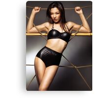 Sexy asian woman wearing stylish black bikini swimsuit art photo print Canvas Print