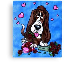 Basset in love Canvas Print