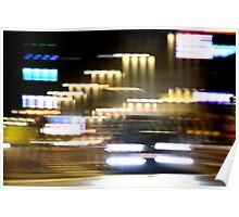 Car in street in urban city lights with distortion effect Poster