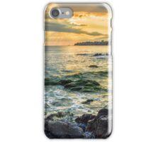 sunrise near sea with crashing waves on the earth edge iPhone Case/Skin