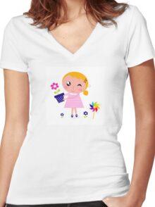 Little cute child holding pink flower - authors illustration Women's Fitted V-Neck T-Shirt