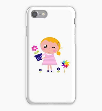 Little cute child holding pink flower - authors illustration iPhone Case/Skin