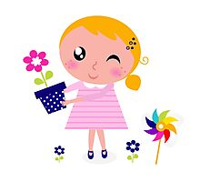 Little cute child holding pink flower - authors illustration Photographic Print