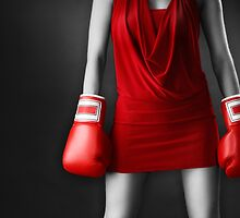 Woman in sexy red dress wearing boxing gloves art photo print by ArtNudePhotos