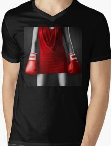 Woman in sexy red dress wearing boxing gloves art photo print Mens V-Neck T-Shirt
