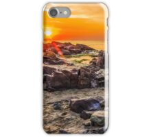 red sun rise landscape over the sea on sandy beach iPhone Case/Skin
