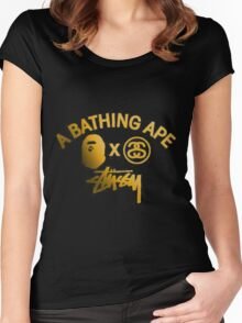 STUSSY edition A BATHING APE - GOLD Women's Fitted Scoop T-Shirt