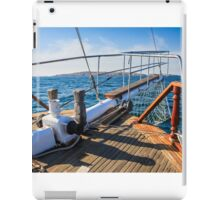 stem deck of a ship coming over the sea towards the island iPad Case/Skin