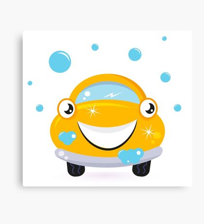 Car wash services, yellow cartoon auto / yellow taxi Canvas Print