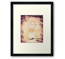 Japanese character Ai Love in cherry blossom frame art photo print Framed Print