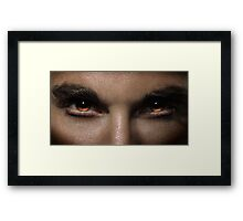 Closeup of man fierce eyes art photo print Framed Print