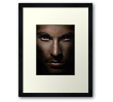 Closeup of man face with shining fierce eyes art photo print Framed Print