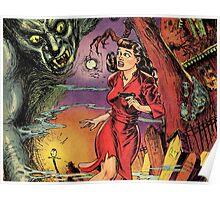 Woman and Demon vintage Comic Pop Art Poster