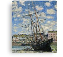 Claude Monet - Boat Lying at Low Tide (1881)  Canvas Print