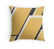 Abstract Angles in Mustard, Black, and White Throw Pillow