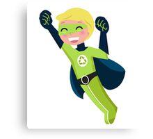 Cute little superhero boy support recycling Canvas Print