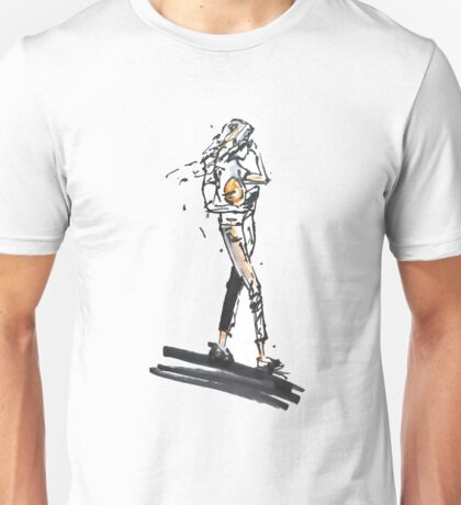 Fashion woman in sketch style with markers Unisex T-Shirt