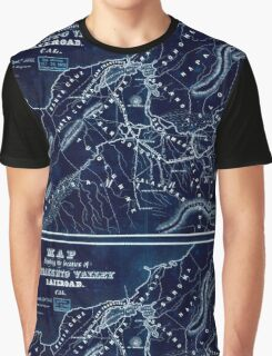 0376 Railroad Maps Map showing the location of Sacramento Valley Railroad Cal Sacramento Septr 1854 T D Judah Chief Inverted Graphic T-Shirt