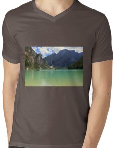 Boating on Lake Braies Mens V-Neck T-Shirt