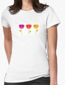 Cute colorful tulips. This is authors Illustration. Womens Fitted T-Shirt