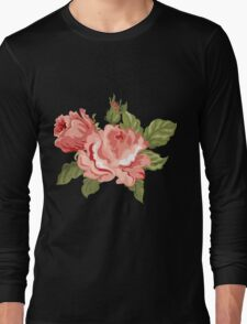 Vintage Pink Colored Roses  Long Sleeve T-Shirt