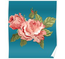 Vintage Pink Colored Roses  Poster