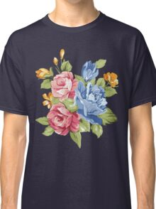 Vintage Pink and Blue Colored Roses  Classic T-Shirt