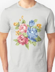 Vintage Pink and Blue Colored Roses  Unisex T-Shirt