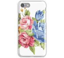 Vintage Pink and Blue Colored Roses  iPhone Case/Skin