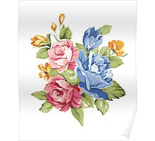 Vintage Pink and Blue Colored Roses  Poster