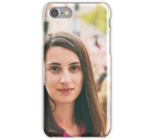 Cute Girl Portrait With Crowd Of People In Background iPhone Case/Skin