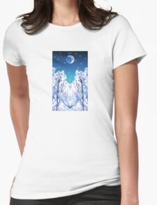 White Woods Snow Womens Fitted T-Shirt