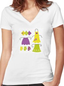 Stylized vintage apron collection - 60s and 70s Inspired Design Collection Women's Fitted V-Neck T-Shirt
