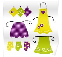 Stylized vintage apron collection - 60s and 70s Inspired Design Collection Poster